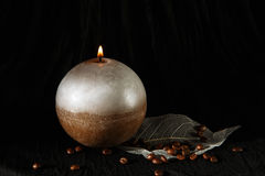 Decorative Handmade sphere candle. Stock Photos