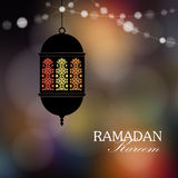 Decorative hanging arabic lantern with string of lights. Greeting card, invitation for muslim holy month Ramadan Kareem. Stock Photos