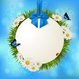 Decorative hanging circle banner with grass and flowers. Vector. Illustration. Natural background. Empty space for text Royalty Free Stock Photo