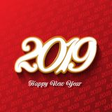 Decorative Happy New Year background. In red and gold vector illustration