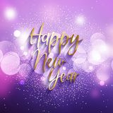 Decorative Happy New Year background. With glitter and  bokeh lights stock illustration