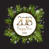 Happy New Year background with snowflakes and fir tree branches Stock Photography
