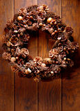Decorative Harvest Wreath on Old House Wood Door Stock Photography