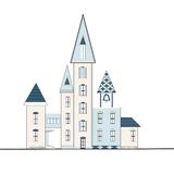 Decorative hauses with turrets Stock Photos