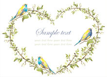 Decorative heart.. Hand drawn valentines day greeting card. Illustration birds Royalty Free Stock Photography