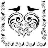 Decorative heart with birds Stock Photo