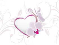 Decorative heart with blooming orchids on the ornamental background Royalty Free Stock Photos