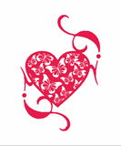 Decorative heart and  butterfly Royalty Free Stock Image