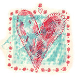 Decorative Heart Element. A hand painted heart in turquoise and red Royalty Free Stock Photography