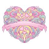 Decorative heart with floral pattern. Royalty Free Stock Photo