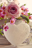 Decorative heart and flowers Royalty Free Stock Image