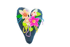Decorative heart and flowers in jeans recycled fabric. Royalty Free Stock Image