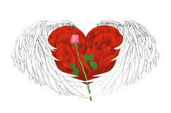 Decorative heart with graphic wings holding a one rose flower. Stock Images