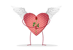 Decorative heart with graphic wings and legs holding a one red rose Stock Photo
