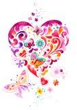 Decorative Heart Illustration with Butterflies vector illustration