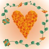 Decorative heart made of roses Royalty Free Stock Images