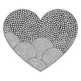 Decorative Heart with ornament of circles. Page for coloring book, greeting card. Pattern for Valentine day Stock Image