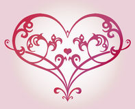 Decorative heart. Ornate decorative heart, beautiful love graphic symbol, calligraphy romantic vector illustration - EPS10 fully editable, you can change form Royalty Free Stock Photography