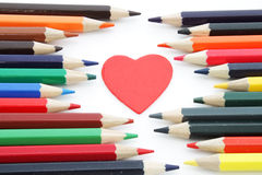 Decorative heart and pencils Stock Image