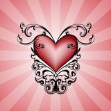 Decorative heart on pink background. stock photography