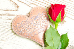 Decorative heart and red rose Royalty Free Stock Image