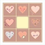 Decorative heart set card pattern Royalty Free Stock Photography