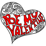 Decorative heart shape with the inscription Be my Valentine Royalty Free Stock Images