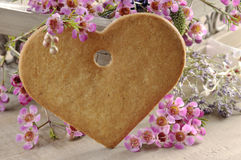 Decorative heart shaped cookie Stock Images