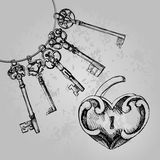 Decorative heart shaped lock with keys. Royalty Free Stock Photos