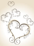 Decorative heart shapes Stock Images