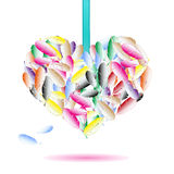 Decorative heart symbol from color feathers Royalty Free Stock Photos
