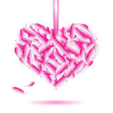 Decorative heart symbol from pink feathers Stock Photography