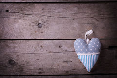 Decorative heart on  vintage wooden  background. Royalty Free Stock Photography