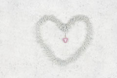 Decorative heart on white lace background Royalty Free Stock Photo