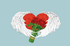 Decorative heart with wings  holding a bouquet of flowers. Gift Royalty Free Stock Photos