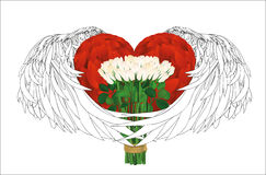 Decorative heart with wings  holding a bouquet of flowers. White Royalty Free Stock Images