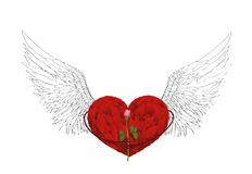 Decorative heart with wings holding one rose flower. Gift. On Valentine`s Day. Greeting card. Empty space for your ad or text. Vector illustration on white Stock Image
