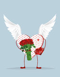 Decorative heart with wings and legs holding a bouquet of flower Stock Images