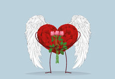 Decorative heart with wings and legs holding a bouquet of flower Royalty Free Stock Image