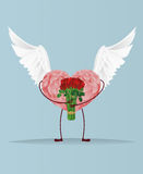 Decorative heart with wings and legs holding a bouquet of flowers Stock Image