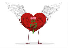 Decorative heart with wings and legs holding a bouquet of flowers Stock Photos