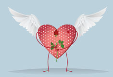 Decorative heart with wings and legs holding a one red rose Royalty Free Stock Images