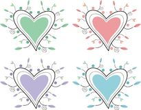 Decorative hearts. Valentine decorative hearts in four colors Stock Illustration