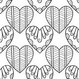 Decorative hearts. Black and white seamless illustration, pattern for coloring book, page Royalty Free Stock Photos