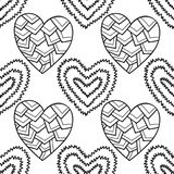 Decorative hearts. Black and white seamless illustration, pattern for coloring book, page Stock Photography