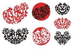 Decorative hearts and circles Stock Image