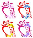 Decorative hearts and flowers Stock Image