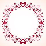 Decorative hearts and flowers frame Royalty Free Stock Image