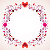 Decorative hearts and flowers frame Stock Images