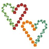 Decorative hearts made of roses and leaves. Two decorative hearts made of roses and leaves stock illustration